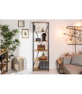 Regał JOVAN idealnie wkomponuje się do salonu w stylu vintage lub loftowym.