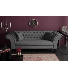 Sofa Euphoria 230 cm srebrno szara aksamit