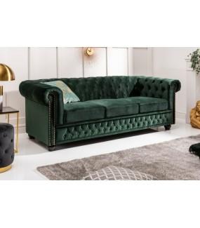 Sofa ARIELLE Chesterfield 205 cm zielona
