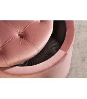 Pufa FABIO II 50 Cm welur pudrowy róż świetnie zaaranżuje salon w stylu glamour. Idealna do nowoczesnego pokoju.