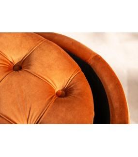 Pufa FABIO II 50cm aksamit rdzawy brąz do salonu w stylu glamour. Idealna do nowoczesnego pokoju.