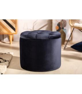 Pufa FABIO II 50 Cm aksamit ciemnoniebieski do salonu w stylu glamour. Idealna do nowoczesnego pokoju.