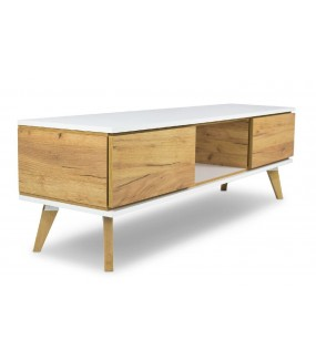 Stolik Pod TV SCANE Złoty dąb 160 Cm do salonu w stylu skandynawskim.