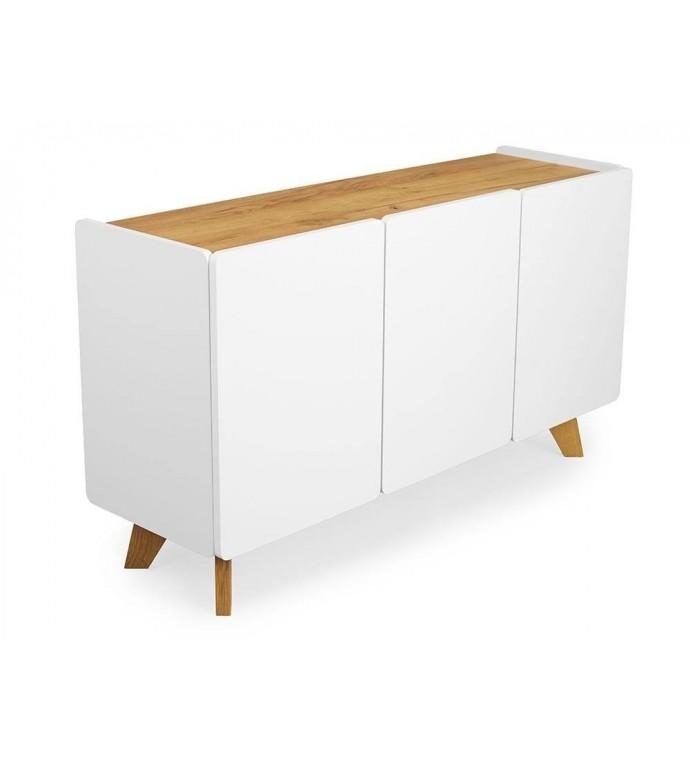 Śnieżno biała Komoda DET ER NOE biały mat 135 cm do salonu w stylu nowoczesnym.