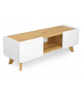 Stolik pod TV DET ER NOE biały mat 135 cm w stylu skandynawskim do salonu.