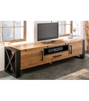 Industrialny stolik pod TV do salonu lub pokoju dziennego urządzonego w surowym stylu przemysłowym.