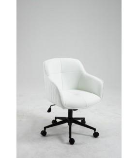 Fotel biurowy Edmonton wykonany z białej skóry syntetycznej na kółkach.