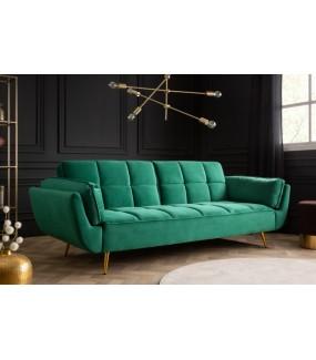 Sofa Acolchado szmaragdowo-zielona 213 cm z funkcją spania w stylu retro.