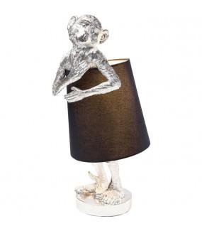Lampa Stołowa Animal Monkey Srebrno - Czarna do salonu w  stylu nowoczesnym
