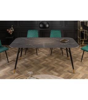 Stół CATANIA 180 Cm Szkło W Optyce czarnego Marmuru