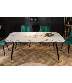 Stół CATANIA 180 Cm Szkło W Optyce białego Marmuru