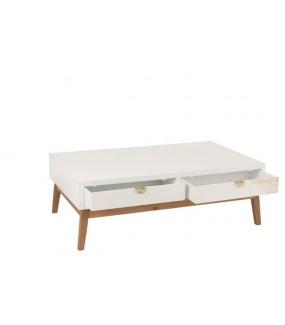 Stolik kawowy Feuille dorée 120 cm biały z dwiema szufladkami do salonu lub pokoju