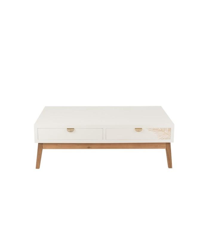 Elegancji i prosty stolik kawowy Feuille dorée 120 cm biały w stylu boho do salonu lub pokoju