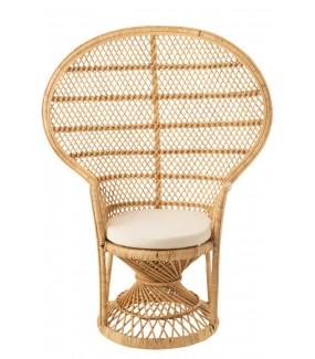 Fotel Paw z poduszką rattanowy Naturalny
