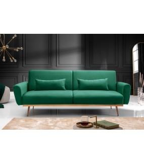 Trzyosobowa rozkładana sofa w kolorze zielonym