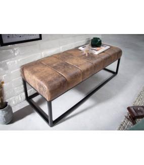 Ławka BULLPEN 110 cm brązowa do przedpokoju, pokoju dziennego w stylu industrialnym