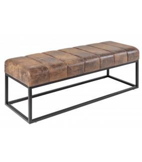 Ławka BULLPEN 110 cm brązowa do przedpokoju, salonu, pokoju dziennego w stylu industrialnym