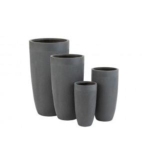 Zestaw 4 wazonów CUATRO szare gliniane do salonu, pokoju, na taras, balkon, w stylu eko, boho, industrialnym, nowoczesnym