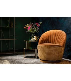 Fotel MADISON pomarańczowy, whiskey, karmelowy do salonu, sypialni, pokoju dziennego w stylu retro, vintage