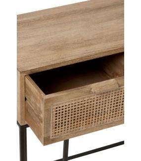 Konsola 3 szuflady trzcina, naturalne drewno Mango, do salonu, przedpokoju
