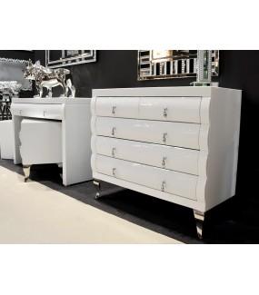 Komoda DIORA II 100 cm biała w stylu Glamour do salonu