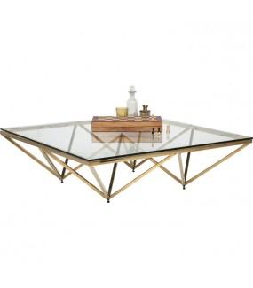 Stolik kawowy NETWORK Gold 105 cm x 105 cm w stylu glamour, nowoczesnym, klasycznym, rustykalnym, do salonu, pokoju dziennego