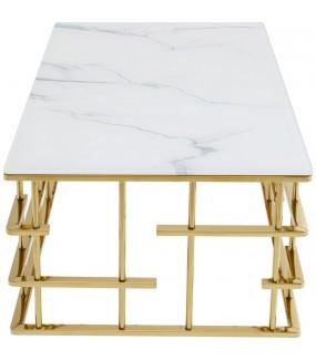 Stolik kawowy ROME GOLD 130 cm x 70 cm  w stylu glamour, nowoczesnym, industrialnym do salonu, pokoju dziennego