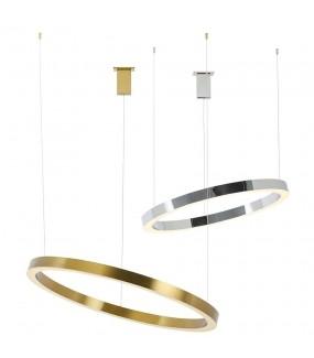Lampa wisząca RING 80 cm srebrna do salonu w stylu nowoczesnym oraz Glamour