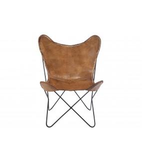 Fotel BUTTERFLY jasny brąz w stylu industrialnym do pokoju. Idealny do salonu urządzonego w stylu vintage.
