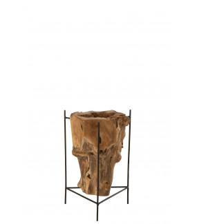 Stolik kawowy RAIZ DESIGUAL Teak naturalny w stylu industrialnym, do salonu, pokoju dziennego, do oranżerii, ogrodu zimowego