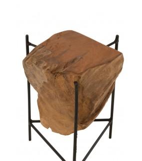 Stolik RAIZ DESIGUAL Teak naturalny w stylu industrialnym do salonu. Idealny do pokoju dziennego w stylu industrialnym.