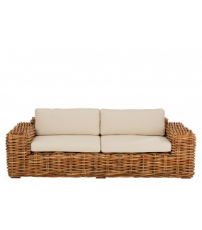 Sofa BOHEMIAN RHAPSODY rattanowa Naturalny do salonu urządzonym w stylu boho. Idealna na taras.