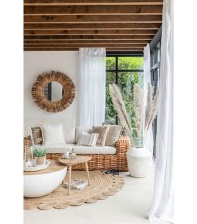 Stół SEMICIRCULAR L mango 90 cm biały, okrągły do salonu w stylu boho. Idealnie sprawdzi się w salonie w stylu nowoczesnym.