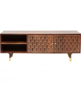 Stolik pod TV MUSKAT 140 cm Mango do salonu w stylu retro. Sprawdzi się w  pokoju zaaranżowanym w stylu vintage.
