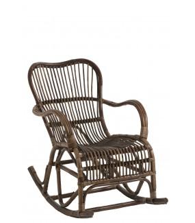 Fotel bujany ARTILUGIO rattanowy brązowy do salonu, pokoju dziennego, na taras, w stylu boho, industrialnym, vintage, retro