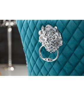 Krzesło OXANA Modern Barock turkusowe do salonu. Idealnie sprawdzi się w   jadalni zaaranżowanej w barokowym stylu.