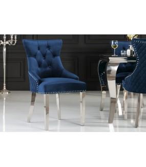 Krzesło OXANA Modern Barock niebieskie do salonu. Idealnie sprawdzi się w   jadalni zaaranżowanej w barokowym stylu.