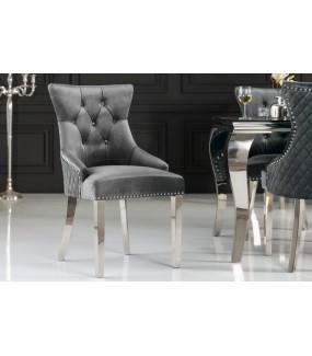 Krzesło OXANA szare do salonu, pokoju dziennego, jadalni, w stylu modern barock