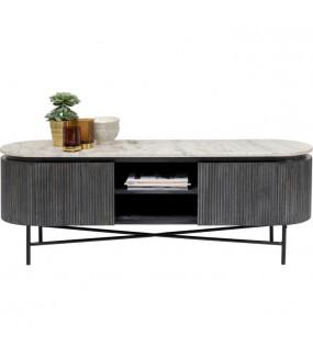Stolik pod TV Glenn 150 cm czarny do pokoju dziennego. Idealny do salonu w stylu nowoczesnym lub industrialnym