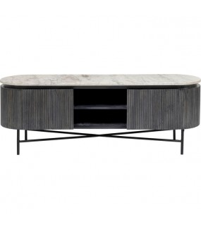 Stolik pod TV Glenn 150 cm czarny do salonu, pokoju dziennego, salonu w stylu nowoczesnym, industrialnym