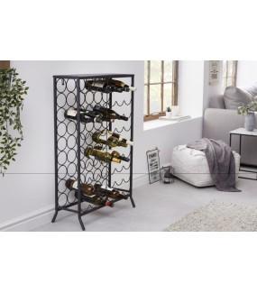 Stojak na wino 100 cm czarny do salonu w stylu nowoczesnym. Sprawdzi się w pokoju dziennym w stylu industrialnym