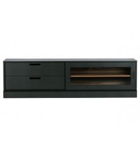Stolik pod TV JAMES 180 cm czarny do salonu w stylu nowoczesnym. Nietuzinkowy element do sypialni pod TV.