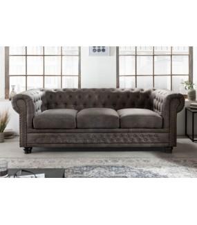 Sofa Chesterfield 200 cm antyczny szary