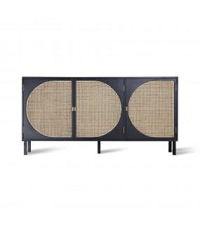 Komoda TRE Mango 160 cm czarny do salonu w stylu retro, Idealna do przedpokoju w stylu industrialnym.