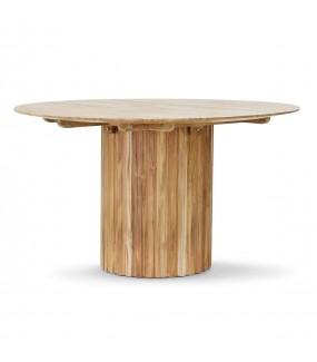 Stół FUNGO Teak 140 cm do salonu w stylu boho. Idealny do jadalni w skandynawskim a nawet industrialnym stylu.