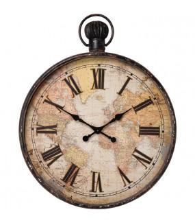 Zegar EUROPEAN MAP 96 cm idealny do pokoju młodzieżowego w stylu retro. Sprawdzi się w salonie bądź jadalni industrialnym.
