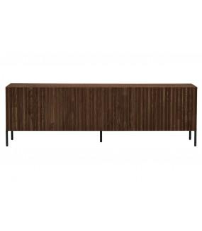Stolik pod TV GRAVURE brązowy do pokoju dziennego w stylu industrialnym. Sprawdzi się w nowoczesnym salonie.