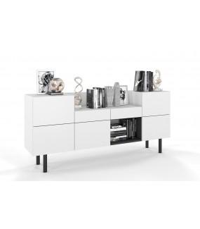 Komoda ESPACIOSO 180 cm biała do salonu w stylu skandynawskim. Idealna do gabinetu lub przedpokoju w stylu nowoczesnym.
