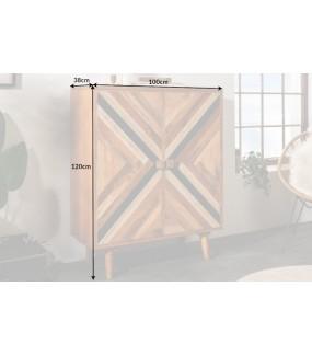 Komoda wysoka LONA 100 cm Mango do salonu w stylu boho lub eko. Idealna do pokoju w stylu retro.