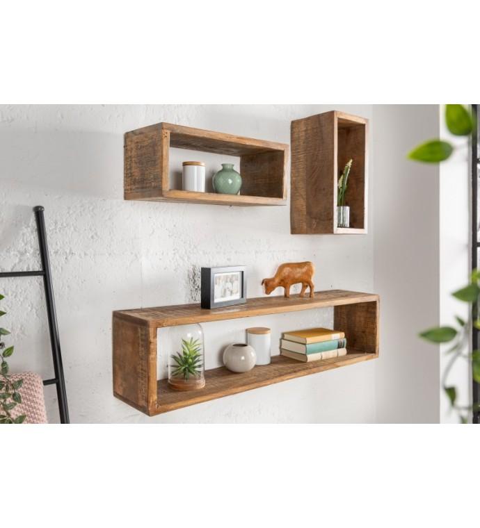 Półka ścienna HEMINGWAY zestaw 3 sztuk mango brąz do pokoju w stylu industrialnym. Idealna do kuchni w stylu skandynawskim.